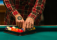12th annual Robbie Mills 8-Ball Pool Tournament at the Rod and Gun on Saturday.  (Karen Bobotas/for the Laconia Daily Sun)