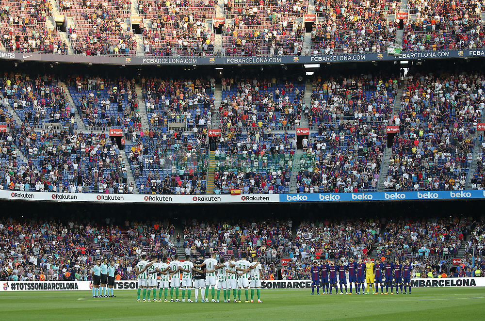 August 20, 2017 - Barcelona, Catalonia, Spain - Minute of silence for the victims of the Barcelona attack before La Liga match between F.C. Barcelona v Alaves, in Barcelona, on September 10, 2016. Photo: Edi Capmany/Urbanandsport/Nurphoto  (Credit Image: © Joan Valls/NurPhoto via ZUMA Press)