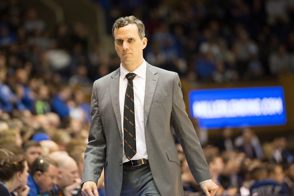 Princeton Head Coach Mitch Anderson during the Tigers' visit to the Duke Blue Devils on December 18, 2018.