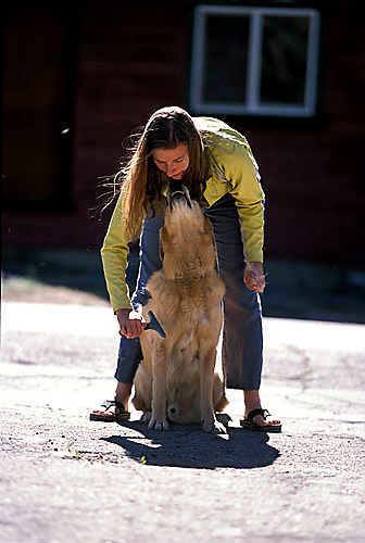 Sarah Meredith brushing Jay on a windy day in South Lake Tahoe, CA.<br />