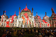 Locals enjoying Brighton Royal Pavilion lit up for the Brighton festival 2016 by Dr Blighty projections on the 25th of May 2016. Brighton, West Sussex, United Kingdom.  A major outdoor event in the Royal Pavilion Garden inspired by the story of the thousands of Indian soldiers who were treated in the temporary military hospital housed in Brighton Pavilion. (photo by Andrew Aitchison / In pictures via Getty Images)