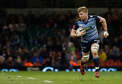Cardiff Blues' Macauley Cook<br /> <br /> Photographer Simon King/Replay Images<br /> <br /> Guinness PRO14 Round 21 - Cardiff Blues v Ospreys - Saturday 28th April 2018 - Principality Stadium - Cardiff<br /> <br /> World Copyright © Replay Images . All rights reserved. info@replayimages.co.uk - http://replayimages.co.uk