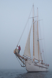 Naturalist Jolie Shea Rides the Bowsprit at SV Maple Leaf Sails through Boundary Pass, Gulf Islands, British Columbia, Canada
