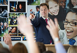 © London News Pictures. 24/10/2013 . London, UK.  Deputy Prime Minister Nick Clegg answers questions after delivering a speech on education at Morpeth co-educational school in Bethnal Green, East London on  Thursday, Oct. 24, 2013. Photo credit : Ben Cawthra/LNP