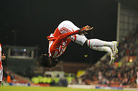 Kenwyne Jones celebrates scoring the first goal of the game for Stoke City.<br /> UEFA Europa League Group E<br /> Stoke City v Maccabi Tel-aviv<br /> 20th October, 2011<br /> - <br /> PILKA NOZNA LIGA EUROPY SEZON 2011/2012 MECZ<br /> FOT.SPORTIMAGE/NEWSPIX.PL <br /> POLAND, SPAIN, PORTUGAL, SOUTH AFRICA , NORTH AND SOUTH AMERICA ONLY !!!<br /> <br /> ---<br /> Newspix.pl *** Local Caption *** www.newspix.pl <br /> mail us: info@newspix.pl<br /> call us: 0048 022 23 22 222<br /> ---<br /> Polish Picture Agency by Ringier Axel Springer Poland
