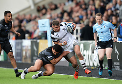 Luke Daniels of Bristol Bears is brought down by Josh Matavesi of Newcastle Falcons - Mandatory by-line: Richard Lee/JMP - 18/05/2019 - RUGBY - Kingston Park Stadium - Newcastle upon Tyne, England - Newcastle Falcons v Bristol Bears - Gallagher Premiership Rugby