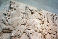 Elgin Marbles horsemen from marble frieze on north side of Parthenon Athens 4th fourth century C BC British Museum London