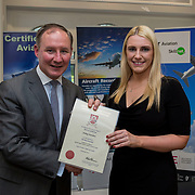24.05.2018.       <br /> The Limerick Institute of Technology with Atlantic Air Adventures and funding from the Aviation Skillnet presented over forty certificates to Aviation professionals who have completed the Certificate in Aviation, The Aircraft Records Technician Level 7 and Part 21 Design, Level 7.<br /> <br /> Pictured at the event was Jim Gavin, The Irish Aviation Authority and Manager of the Dublin Football Team who presented, Aisling Hanrahan with their cert.<br /> <br /> LIT in partnership with Atlantic Air Adventures, CAE Parc Aviation, Part 21 Design and industry experts such as Anton Tams, GECAS, Don Salmon, CAE Parc Aviation and Mick Malone, Part 21 Design have developed and deliver these key training programmes with funding for aviation companies provided by The Aviation Skillnet.<br /> <br /> . Picture: Alan Place