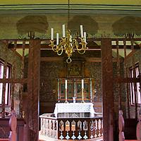 Europe, Norway, Flam. Flam Church interior.