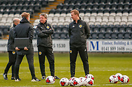 Brian Mclaughlin Scotland U17 Head Coach talks to his staff ahead of the U17 European Championships match between Portugal and Scotland at Simple Digital Arena, Paisley, Scotland on 20 March 2019.