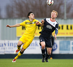 Queen of the South's Ian McShane and Falkirk's Mark Beck.<br /> Falkirk 1 v 0 Queen of the South, Scottish Championship game today at the Falkirk Stadium.<br /> © Michael Schofield.