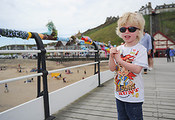 © Licensed to London News Pictures. 27/05/2013..Saltburn, England..Luca Ingram, 5, from Ingleby Barwick enjoys the displays as once again the mysterious group of knitters in Saltburn by the Sea in Cleveland have been working their magic and have produced another amazing display of local seaside scenes created out of wool and attached to the Victorian Pier in the town...The woollen figures first appeared last year to mark the Olympics and then the royal wedding and created a storm of interest in the figures and brought many visitors into the town...Photo credit : Ian Forsyth/LNP