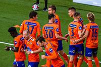 1. divisjon fotball 2018: Aalesund - Levanger (4-0). Aalesunds Holmbert Fridjonsson (nr 3 f.h.) og lagkameratene feirer 2-0 i kampen i 1. divisjon i fotball mellom Aalesund og Levanger på Color Line Stadion.