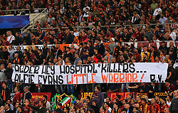 Roma fans hold up a banner in memory of the late Liverpool toddler Alfie Evans - Mandatory by-line: Matt McNulty/JMP - 02/05/2018 - FOOTBALL - Stadio Olimpico - Rome,  - Roma v Liverpool - UEFA Champions League Semi Final, 2nd Leg
