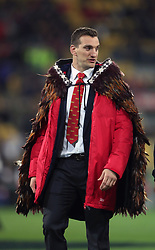 British and Irish Lions' Sam Warburton is presented with a feathered Maori cloak before the tour match at the Westpac Stadium, Wellington.