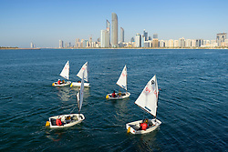 Daytime skyline view and sailing boats in Abu Dhabi in United Arab Emirates