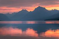 Red sky at dawn, Lake McDonald Glacier National Park Montana
