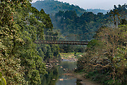 Steel bridge in the remote mountains of Manipur, India