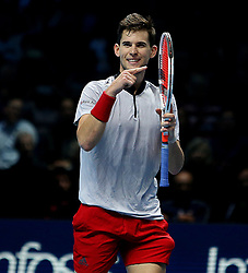 November 15, 2018 - London, England, United Kingdom - Austrian Dominic Thiem (AUT) celebrating his win with racquet at Nitto ATP Finals.  (Credit Image: © Panoramic via ZUMA Press)