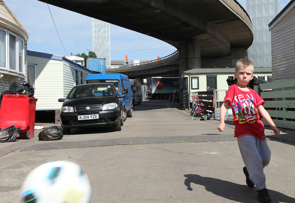 Irish Travellers living under the Westway in West London. Some families have been living on this Council-owned site for more than 30 years