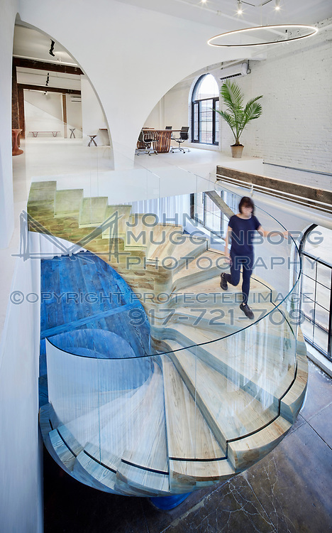 Custom built solid ash staircase at the OT/TRA by Zimmerman Workshop Showroom in Red Hook Brooklyn.<br /> Photographs by John Muggenborg.<br /> @muggphoto<br /> <br /> http://www.johnmuggenborg.com