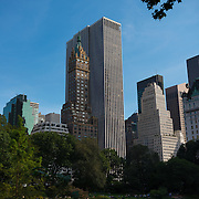 The Sherry-Netherland hotel and GM building from Central park, New York