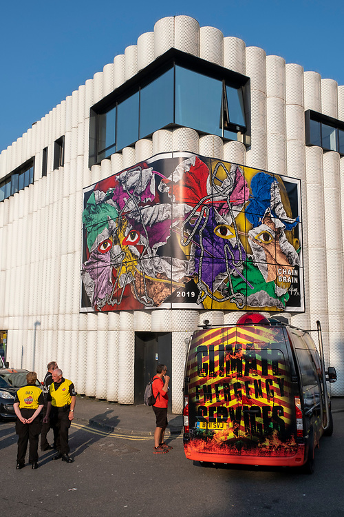 Chain Brain 2019 by artists Gilbert & George and Climate Emergency Services By Artist Mike Stubbs, two artworks made for the Creative Folkestone Triennial 2020, The Plot on 20th of July 2021, in Folkestone, United Kingdom. Folkestone's 5th open air art exhibition The Plot sees 27 newly commissioned artworks appearing around the south coast seaside town. The new work builds on the work from previous triennials making Folkestone the biggest urban outdoor contemporary art exhibition in the UK.  (photo by Andrew Aitchison / In pictures via Getty Images)