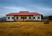 NATIONAL PARK TORRES DEL PAINE, CHILE - CIRCA FEBRUARY 2019: Facade view of the Hosteria Laguna Amarga in Torres del Paine National Park, Chile.