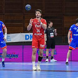 Ludwigshafens Haider, Maximilian (Nr.14) am Ball beim Spiel in der Handball Bundesliga, Die Eulen Ludwigshafen - HBW Balingen-Weilstetten.<br /> <br /> Foto © PIX-Sportfotos *** Foto ist honorarpflichtig! *** Auf Anfrage in hoeherer Qualitaet/Aufloesung. Belegexemplar erbeten. Veroeffentlichung ausschliesslich fuer journalistisch-publizistische Zwecke. For editorial use only.