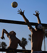 5/5/171:15:36 AM - Chase Frishman goes up for a spike during the AVP Huntington Beach Open Qualifiers Tournament in Huntington Beach, California<br /> <br /> Photo by Michel Lim/Sports Shooter Academy
