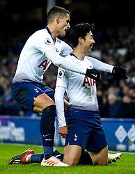 Son Heung-Min of Tottenham Hotspur celebrates with teammates after scoring a goal to make it 5-2 - Mandatory by-line: Robbie Stephenson/JMP - 23/12/2018 - FOOTBALL - Goodison Park - Liverpool, England - Everton v Tottenham Hotspur - Premier League