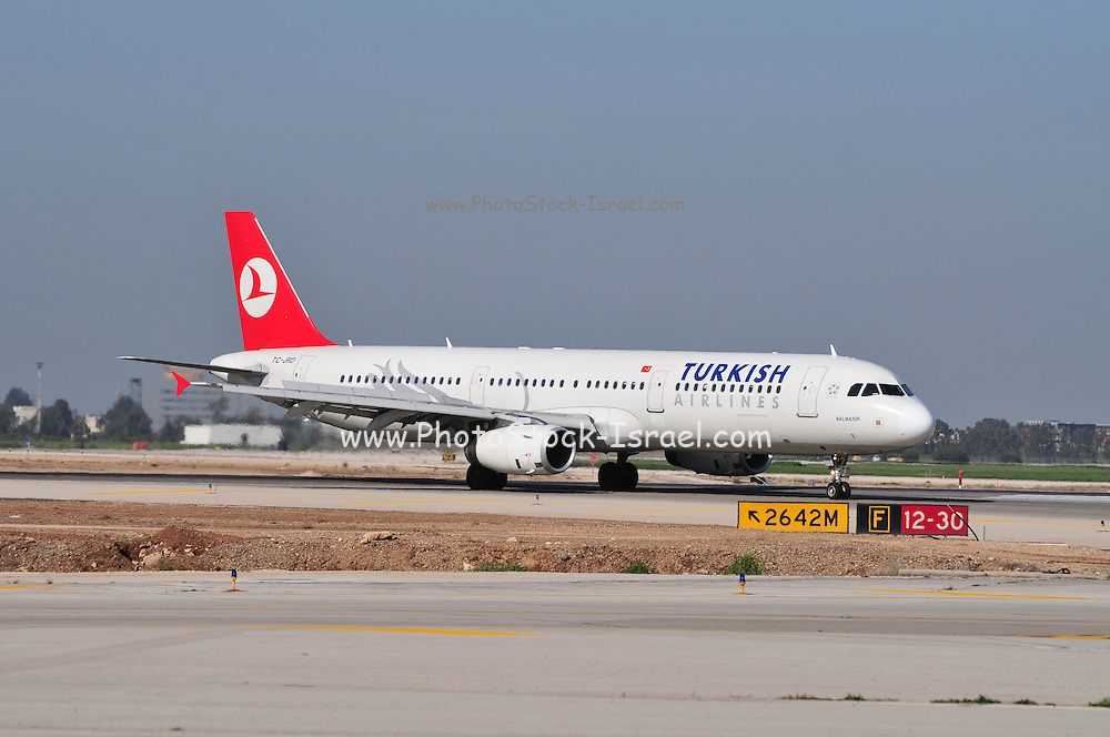 Israel, Ben-Gurion international Airport Turkish Airlines Airbus A330 passenger jet landing