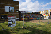 Building works at Thrayle House in Stockwell on 3rd August 2016 in South London, United Kingdom. Thrayle House is next to Stockwell skate park.