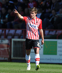 Exeter City's David Wheeler celebrates his sides goal  - Photo mandatory by-line: Harry Trump/JMP - Mobile: 07966 386802 - 06/04/15 - SPORT - FOOTBALL - Sky Bet League Two - Exeter City v Newport County - St James Park, Exeter, England.