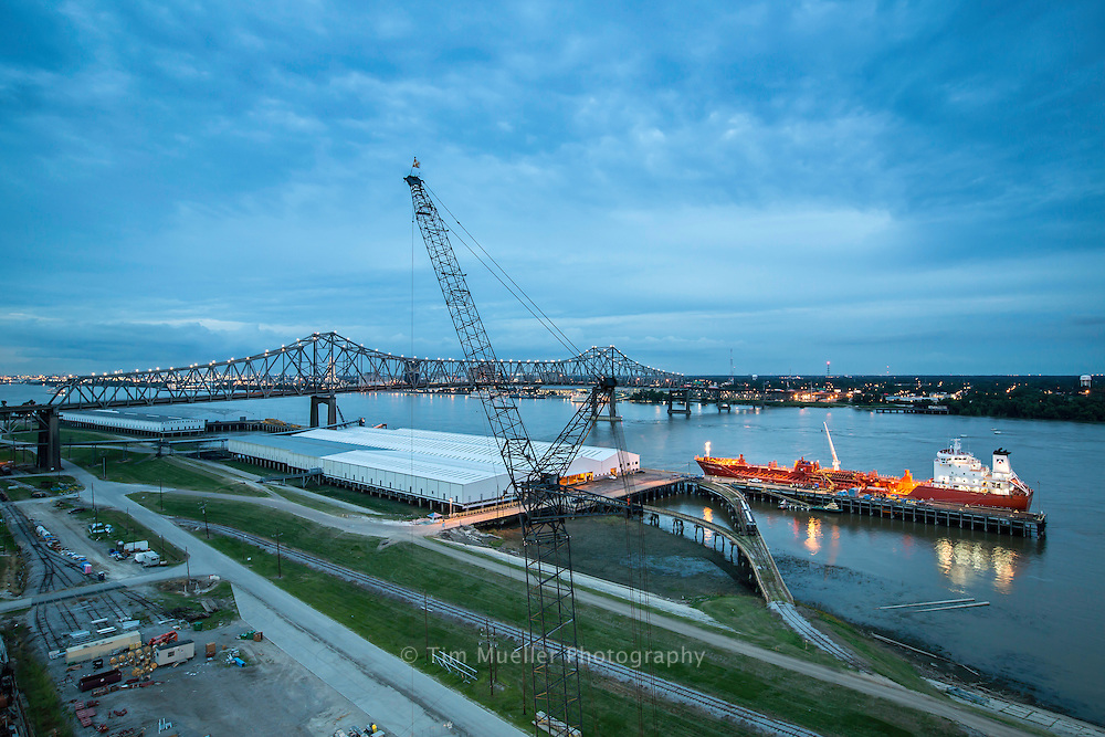 The Mississippi River and I-10 bridge as seen from the Port of Greater Baton Rouge in Port Allen, La. Situated at the convergence of the Mississippi River and the Gulf Intracoastal Waterway the Port of Greater Baton Rouge provides direct access to ship, barge, truck and rail.