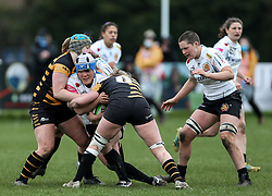 Sachiko Kato of Exeter Chiefs is challenged by Edel McMahon of Wasps - Mandatory by-line: Arron Gent/JMP - 06/03/2021 - RUGBY - Twyford Avenue - Acton, England - Wasps FC Ladies v Exeter Chiefs Women - Allianz Premier 15s