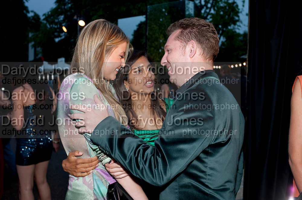 HOLLY VALANCE; DIVIA LALVANI; NICK CANDY; ; , The Summer party 2011 co-hosted by Burberry. The Summer pavilion designed by Peter Zumthor. Serpentine Gallery. Kensington Gardens. London. 28 June 2011. <br /> <br />  , -DO NOT ARCHIVE-© Copyright Photograph by Dafydd Jones. 248 Clapham Rd. London SW9 0PZ. Tel 0207 820 0771. www.dafjones.com.