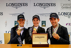 Top 3 of the 7 years old horses, Pohlmeier Anne-Kathrin, Cornelissen Adelinde, Servero Jurado Lopez Jesus<br /> Longines FEI/WBFSH World Breeding Dressage Championships for Young Horses - Ermelo 2017<br /> © Hippo Foto - Dirk Caremans<br /> 06/08/2017