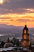 Sunset over the Oratorio de San Felipe Neri church in the historic center of San Miguel de Allende, Guanajuato, Mexico.