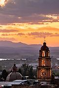 Sunset over the Oratorio de San Felipe Neri church in the historic center of San Miguel de Allende, Guanajuato, Mexico.