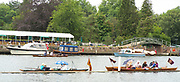 Henley-On-Thames, Berkshire, UK., Thursday, 12.08.21,  a couple of Skiffs and a Punt tied to the boons, with Spectators and Picnics' to watch the Racing , 2021 Henley Royal Regatta,  [ Mandatory Credit © Peter Spurrier/Intersport Images],