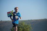 Eddie Izzard running his 8th marathon in 8 days, near Craddock on the Eastern Cape, for Sport Relief 2016