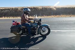 Buzz Kanter riding his 1936 Harley-Davidson VLH during Stage 15 (244 miles) of the Motorcycle Cannonball Cross-Country Endurance Run, which on this day ran from Lewiston, Idaho to Yakima, WA, USA. Saturday, September 20, 2014.  Photography ©2014 Michael Lichter.