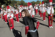 The Broken Bow High School marching band waits for the signal to march forward as the band lines up for the Harvest of Harmony Parade in Grand Island on Saturday. (Independent/Crystal LoGiudice).