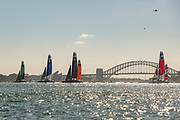 Race two leg two, heading for the bottom mark on day one of competition. Event 1 Season 1 SailGP event in Sydney Harbour, Sydney, Australia. 15 February 2019. Photo: Chris Cameron for SailGP. Handout image supplied by SailGP