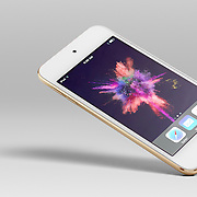 Single white and gold Apple iPod Touch on a light gray background