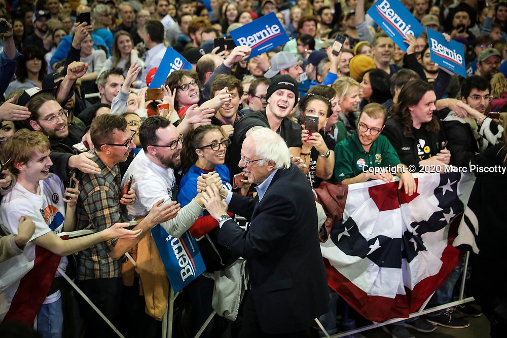 DENVER, CO - FEBRUARY 16: Democratic presidential candidate Sen. Bernie Sanders (I-VT) greets the crowd after speaking to a large group of supporters at a rally in the Colorado Convention Center on February 16, 2020 in Denver, Colorado. (Photo by Marc Piscotty/ © 2020)