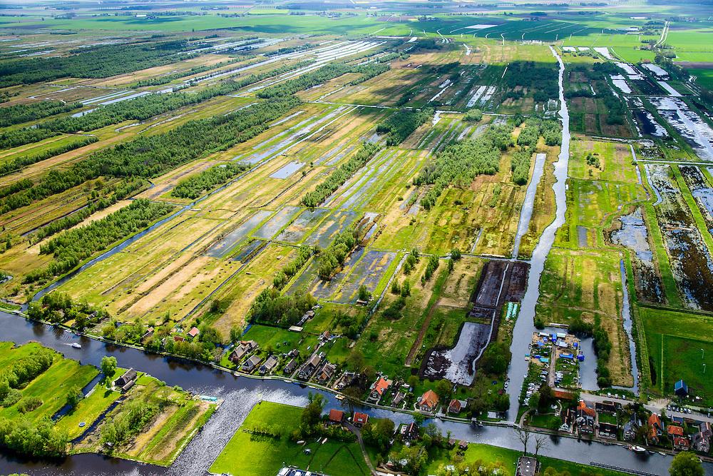 """Nederland, Overijssel, Gemeente Steenwijkerland, 07-05-2015; Ossenzijl, gelegen aan de Kalenbergergracht in het natuurgebied de Weerribben.<br /> Nature reserve """"Weerribben', the largest <br /> serried fenland of Europe.<br /> luchtfoto (toeslag op standard tarieven);<br /> aerial photo (additional fee required);<br /> copyright foto/photo Siebe Swart"""
