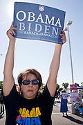 November 1, 2008  -- PHOENIX, AZ: CINDY SERNA, a labor organizer from Tolleson, AZ, cheers for Barack Obama during an anti John McCain rally in Phoenix Saturday. About 200 people attended an anti John McCain rally in Phoenix, a block from the Senator's Arizona office. The rally was organized by the Arizona End the War Coalition.   Photo by Jack Kurtz / ZUMA Press