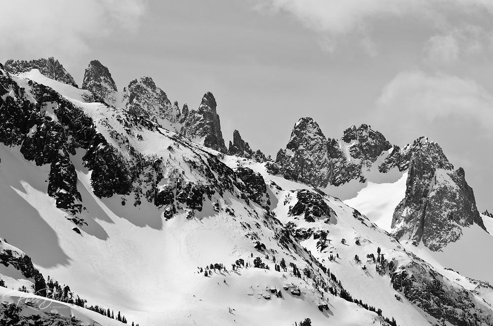 The Minarets in winter, Ansel Adams Wilderness, Sierra Nevada Mountains, California